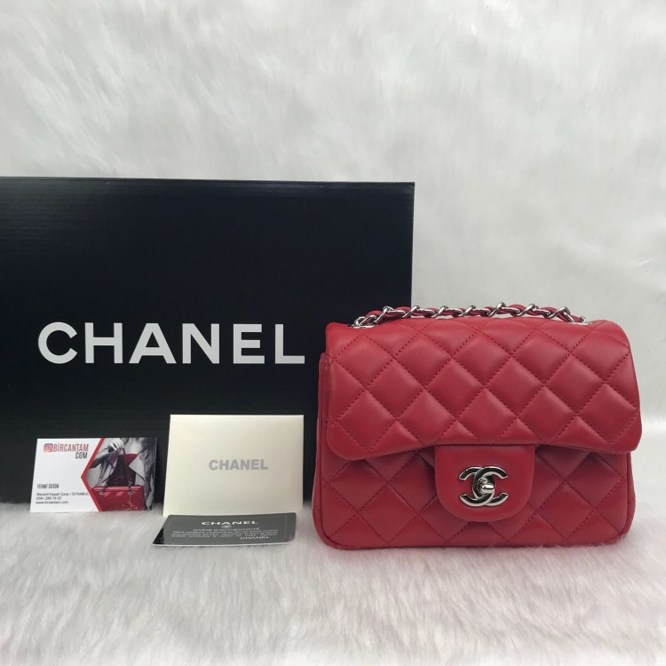 CHANEL MİNİ FLAP BAG 1.55 KIRMIZI GUMUS