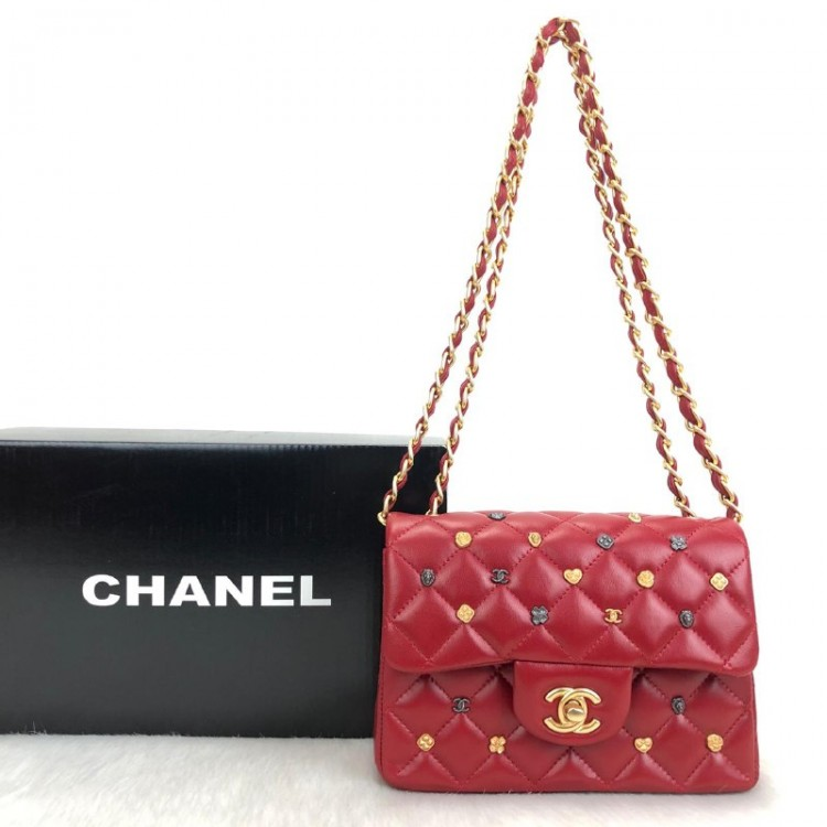 CHANEL FLAP LUCKY CHARMS 1,55 MİNİ KIRMIZI