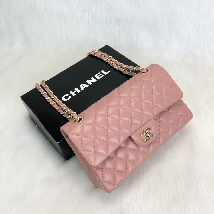 CHANEL  FLAP BAG 2,55 ORTA BOY %100 HAKİKİ DERİ PUDRA