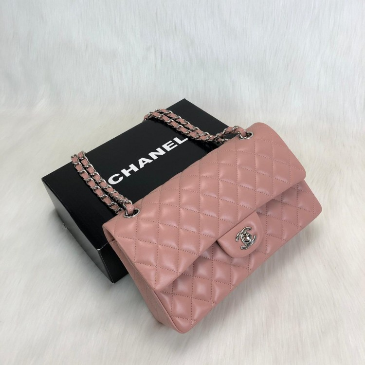CHANEL  FLAP BAG 2,55 ORTA BOY %100 HAKİKİ DERİ GUMUS PUDRA