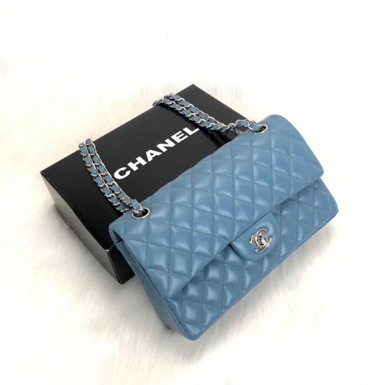 CHANEL  FLAP BAG 2,55 ORTA BOY %100 HAKİKİ DERİ MAVİ