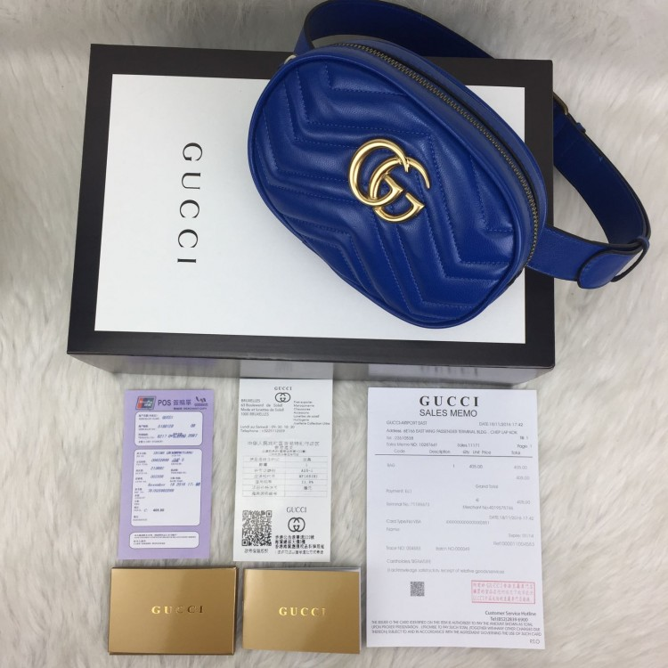GUCCİ BELT BAG HAKİKİ DERİ MAVİ