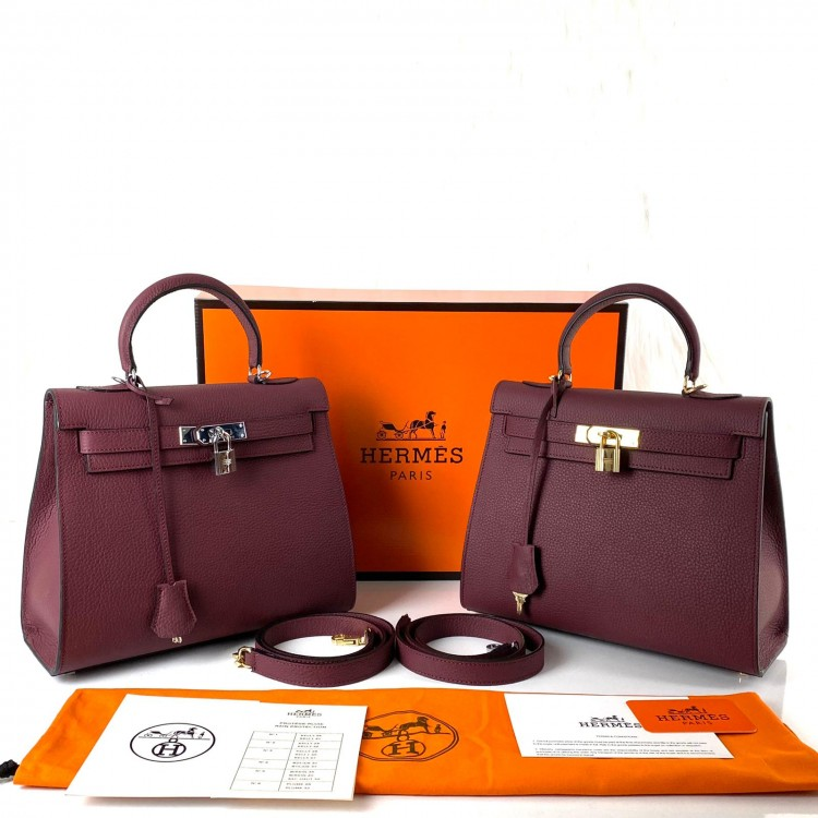 HERMES KELLY 28 CM BORDO