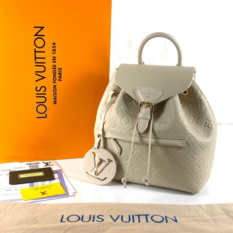 LOUİS VUİTTON MONTSOURİS EMPREİNTE PM BACKPACK KREM